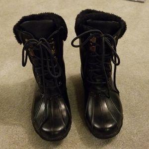 Steve madden black fleece lined duck boots 5